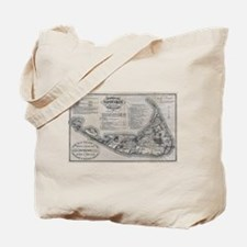 Vintage Nantucket Map Tote Bag
