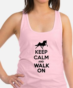 Keep Calm and Walk On Light Racerback Tank Top