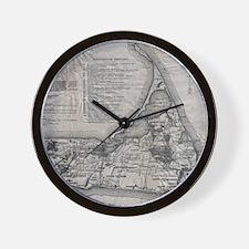 Vintage Nantucket Map Wall Clock
