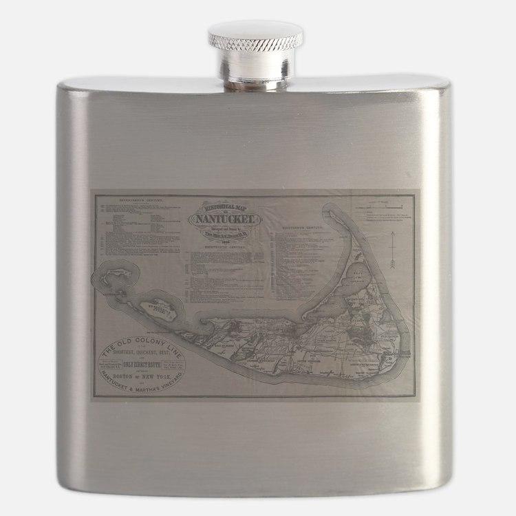 Vintage Nantucket Map Flask