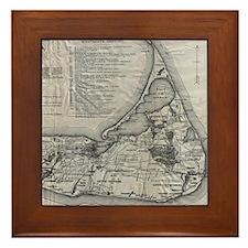 Vintage Nantucket Map Framed Tile