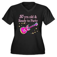 50TH ROCK ST Women's Plus Size V-Neck Dark T-Shirt
