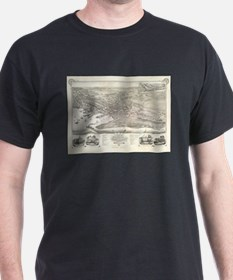 Vintage Pictorial Map of Nantucket (1881) T-Shirt