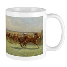 thoroughbred horse racing art Mugs
