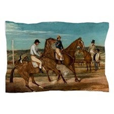 thoroughbred horse racing art Pillow Case