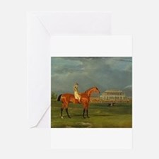 thoroughbred horse racing art Greeting Cards