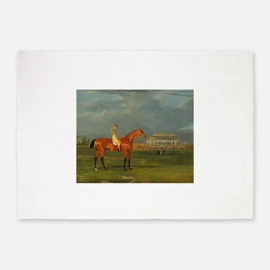 thoroughbred horse racing art 5'x7'Area Rug