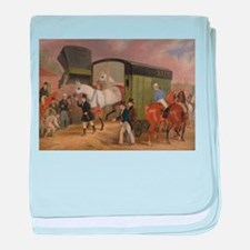 thoroughbred horse racing art baby blanket
