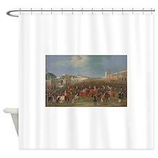 thoroughbred horse racing art Shower Curtain