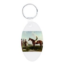 thoroughbred horse racing art Keychains