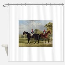 thoroughbred horse racing art Shower Curtain