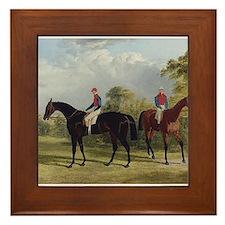 thoroughbred horse racing art Framed Tile