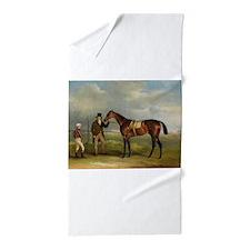 thoroughbred horse racing art Beach Towel