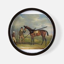 thoroughbred horse racing art Wall Clock