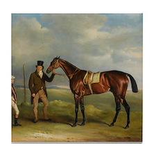 thoroughbred horse racing art Tile Coaster