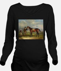 thoroughbred horse racing art Long Sleeve Maternit