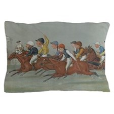 thoroughbred horse racing art Pillow Case
