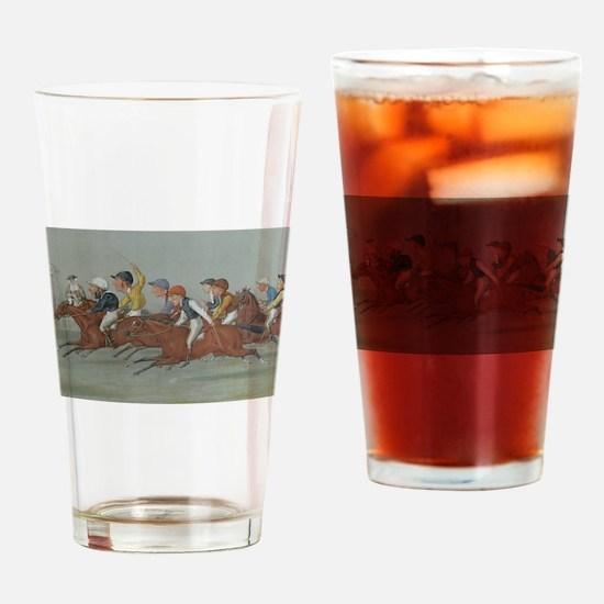 thoroughbred horse racing art Drinking Glass