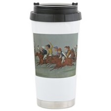 thoroughbred horse racing art Travel Mug