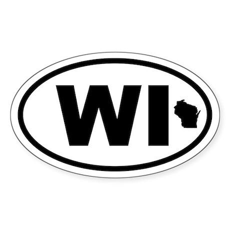 Wisconsin Map Oval Sticker