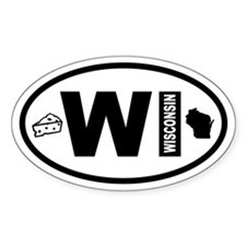 Wisconsin Map and Cheese Oval Decal