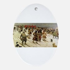 skiing art Ornament (Oval)