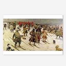 skiing art Postcards (Package of 8)