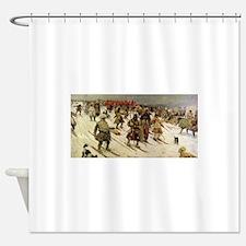 skiing art Shower Curtain