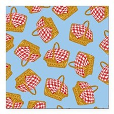 "Picnic Basket Pattern Square Car Magnet 3"" x 3"""