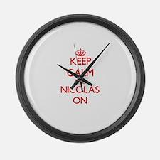 Keep Calm and Nicolas ON Large Wall Clock