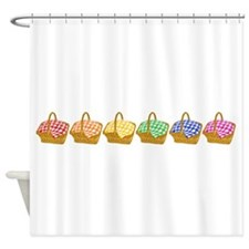Rainbow Picnic Baskets Shower Curtain