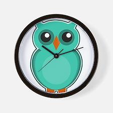 Teal Owl (cute) Wall Clock