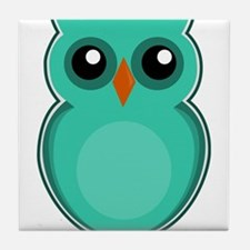 Teal Owl (cute) Tile Coaster