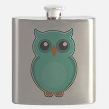 Teal Owl (cute) Flask