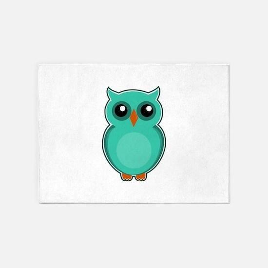 Teal Owl (cute) 5'x7'Area Rug