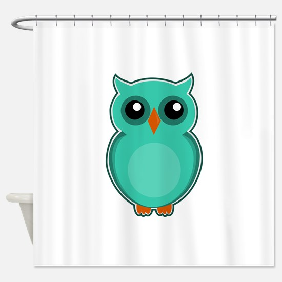 Teal Owl (cute) Shower Curtain