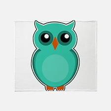 Teal Owl (cute) Throw Blanket