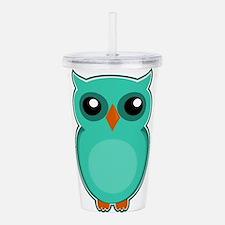 Teal Owl (cute) Acrylic Double-wall Tumbler