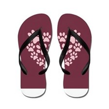 Maroon Heart with Paw Prints Flip Flops