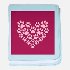 Maroon Heart with Paw Prints baby blanket