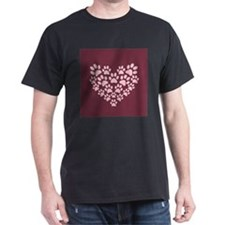 Maroon Heart with Paw Prints T-Shirt