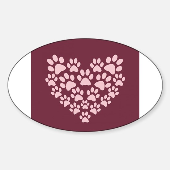 Maroon Heart with Paw Prints Decal