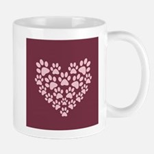 Maroon Heart with Paw Prints Mugs