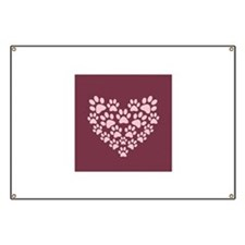 Maroon Heart with Paw Prints Banner