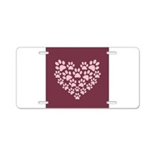 Maroon Heart with Paw Print Aluminum License Plate