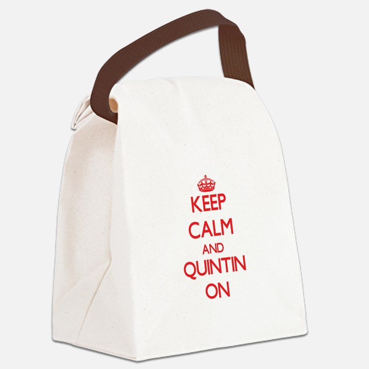 Keep Calm and Quintin ON Canvas Lunch Bag