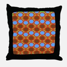 Earthy Browns and Blue Eyelets Throw Pillow