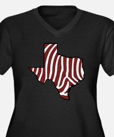 TAMU Zebra Women's Plus Size V-Neck Dark T-Shirt