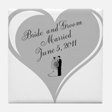 Bride And Groom Wedding Day Tile Coaster