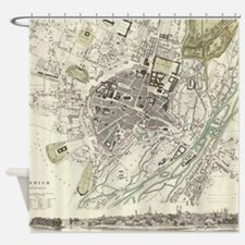 Vintage Map of Munich Germany (1832 Shower Curtain